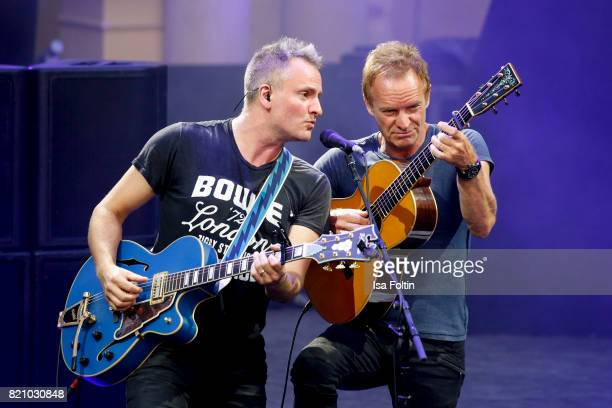 Sting and his son Joe Sumner perform on stage during the Thurn Taxis Castle Festival 2017 on July 22 2017 in Regensburg Germany
