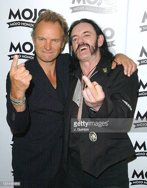 Sting and Lemmy of Motorhead during Mojo Honours List Awards 2004 Press Room at Banqueting Hall in London Great Britain