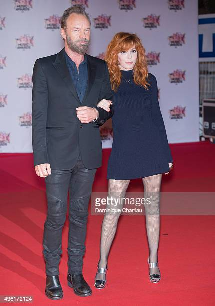Sting and Mylene Farmer attend the 17th NRJ Music at Palais Des Festivals In Cannes on November 7 2015 in Cannes France