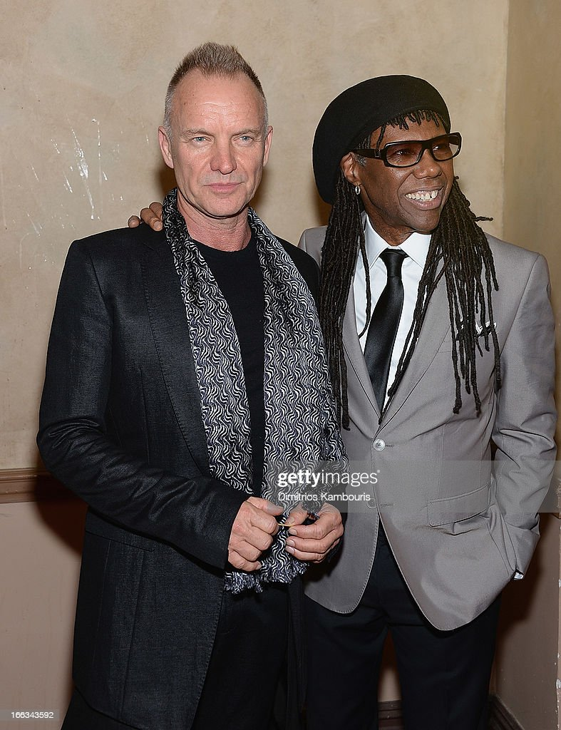 Sting and Nile Rodgers attend the 0213 We Are Family Honors Gala at Manhattan Center Grand Ballroom on April 11, 2013 in New York City.