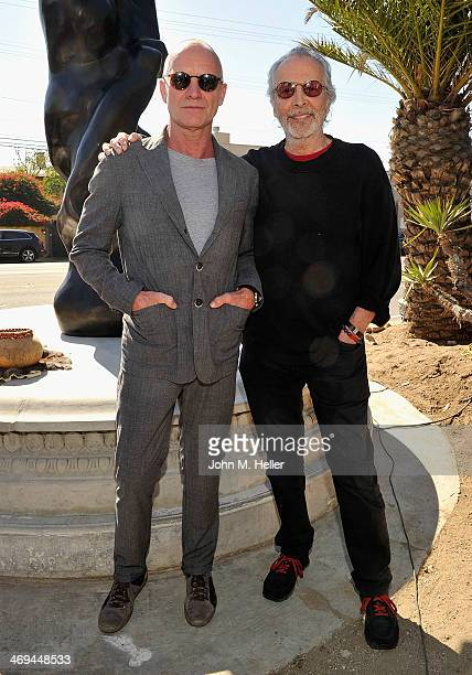 Sting and nine time Grammy award winner Herb Alpert attend the dedication ceremony for Herb Alpert's 17foot tall Totem sculpture 'Freedom' at the La...