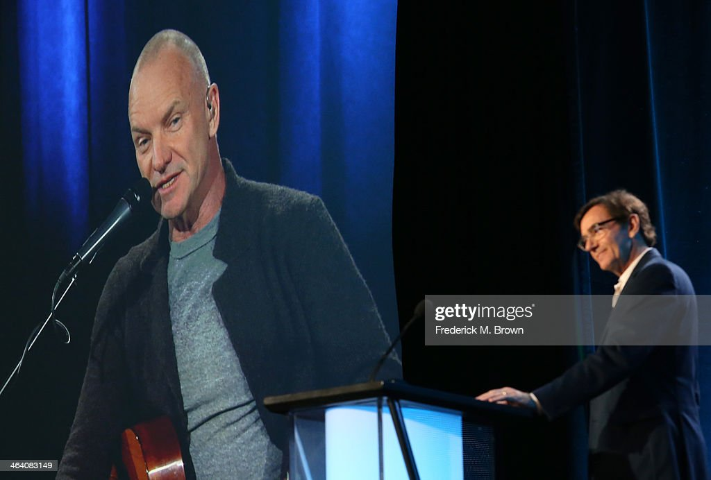 Sting (via satellite) and Stephen Segaller, WNET Executive-In-Charge, speak onstage during the ' Great Performances 'Sting: The Last Ship' ' panel discussion at the PBS portion of the 2014 Winter Television Critics Association tour at Langham Hotel on January 20, 2014 in Pasadena, California.