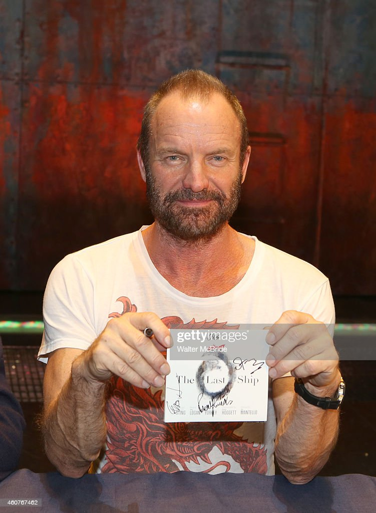 Sting and the cast of 'The Last Ship' host a CD autograph signing for the Original Broadway Cast Recording of 'The Last Ship' on stage at The Neil Simon Theatre on December 21, 2014 in New York City.