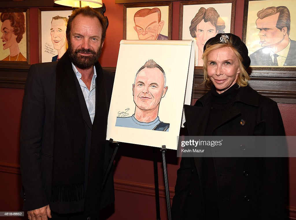 Sting and Trudie Styler after Sting receives his caricature at Sardi's on January 20, 2015 in New York City.