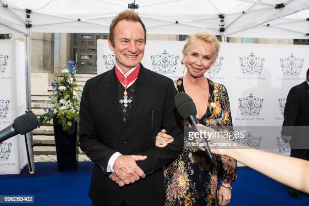 Sting and wife Trudie Styler attend an award ceremony for the Polar Music Prize at Konserthuset on June 15 2017 in Stockholm Sweden