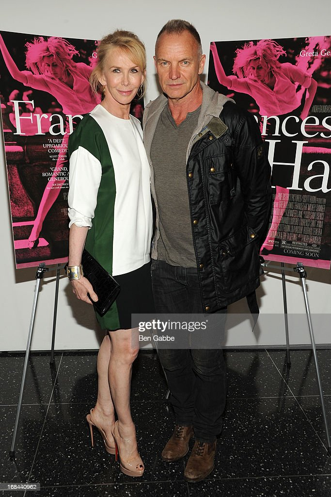Sting (R) and wife <a gi-track='captionPersonalityLinkClicked' href=/galleries/search?phrase=Trudie+Styler&family=editorial&specificpeople=203268 ng-click='$event.stopPropagation()'>Trudie Styler</a> attend 'Frances Ha' New York Premiere at MOMA on May 9, 2013 in New York City.