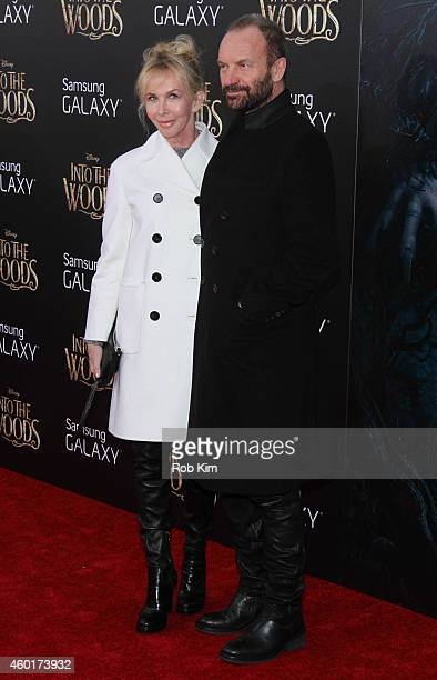 Sting and wife Trudie Styler attend 'Into The Woods' World Premiere Outside Arrivals at Ziegfeld Theater on December 8 2014 in New York City
