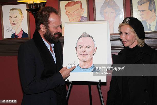 Sting and wife Trudie Styler pose at his caricature unveiling to honor his performance in 'The Last Ship' on Broadway at Sardi's on January 20 2015...