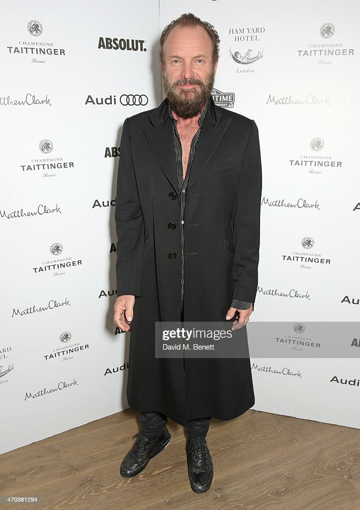 <a gi-track='captionPersonalityLinkClicked' href=/galleries/search?phrase=Sting&family=editorial&specificpeople=220192 ng-click='$event.stopPropagation()'>Sting</a> arrives at Ham Yard Hotel for the After Party of The Old Vic's A Gala Celebration in Honour of Kevin Spacey on April 19, 2015 in London, England.