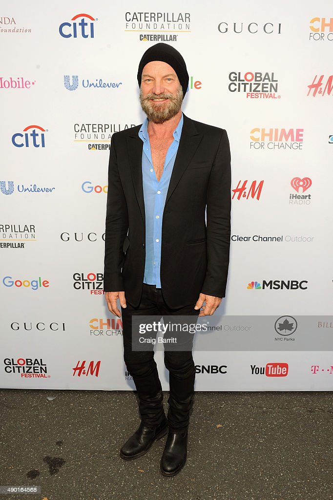 Sting attends the 2015 Global Citizen Festival to end extreme poverty by 2030 in Central Park on September 26, 2015 in New York City.