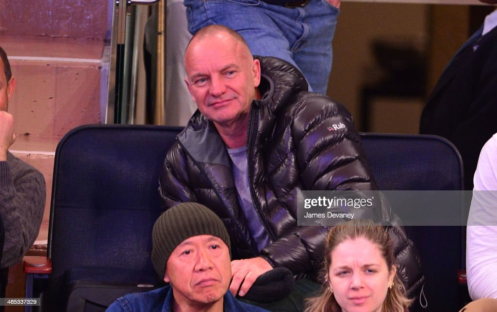 Sting attends the Los Angeles Lakers vs New York Knicks game at Madison Square Garden on January 26, 2014 in New York City.