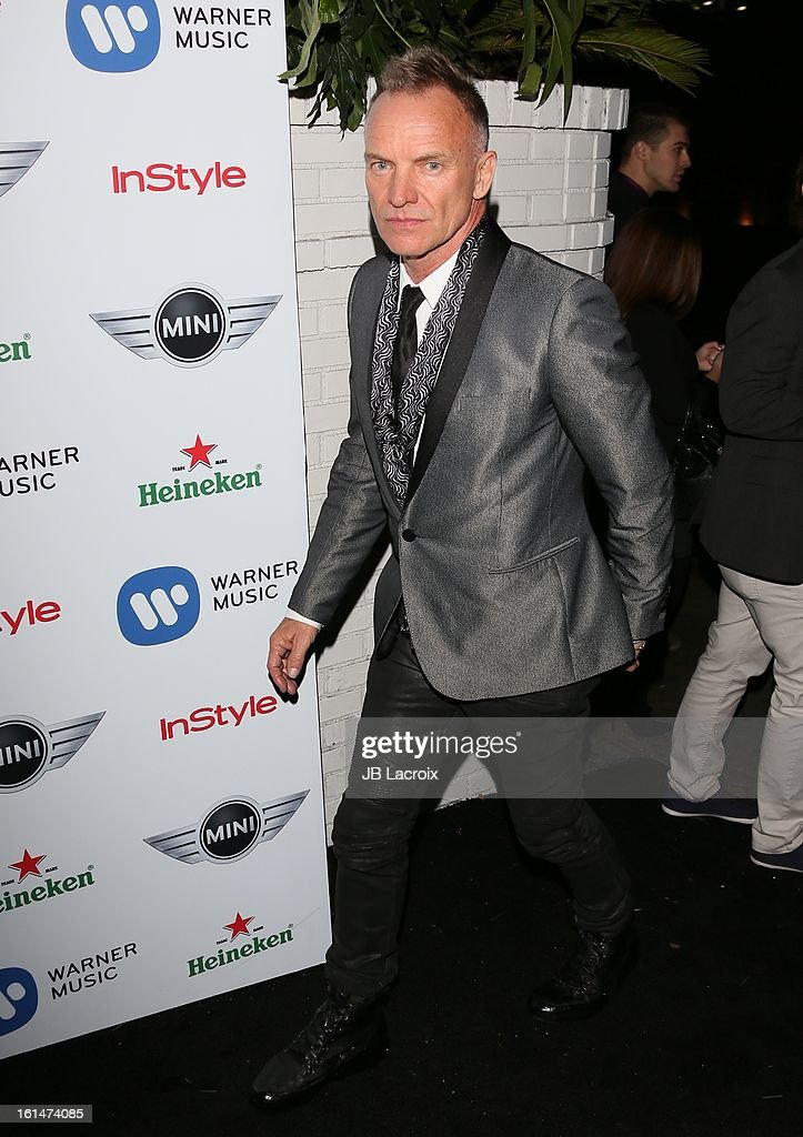 Sting attends the Warner Music Group 2013 Grammy Celebration Presented By Mini held at Chateau Marmont on February 10, 2013 in Los Angeles, California.