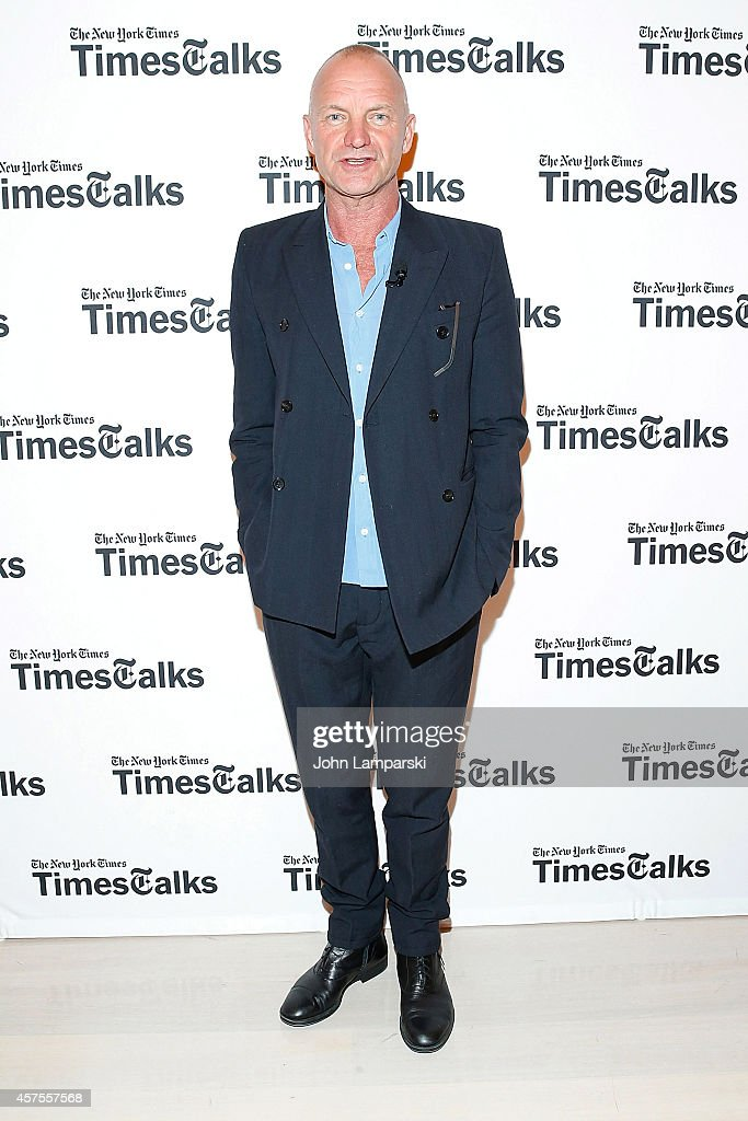 Sting attends TimesTalks With Sting & Joe Mantello at TheTimesCenter on October 20, 2014 in New York City.