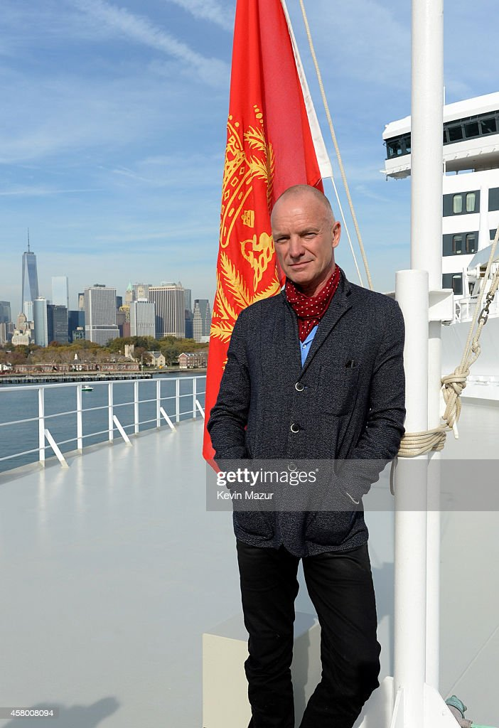 <a gi-track='captionPersonalityLinkClicked' href=/galleries/search?phrase=Sting&family=editorial&specificpeople=220192 ng-click='$event.stopPropagation()'>Sting</a> Brings Songs from New Broadway Musical 'The Last Ship' aboard Cunard's Queen Mary 2 at Brooklyn Cruise Terminal on October 28, 2014 in New York City.
