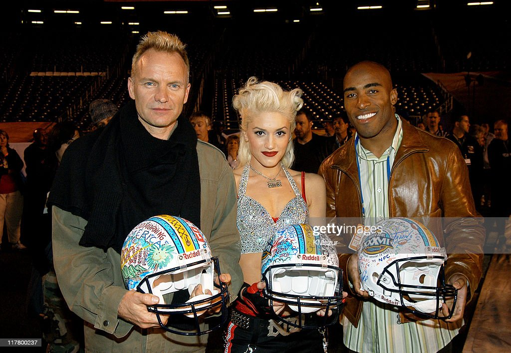 Sting, <a gi-track='captionPersonalityLinkClicked' href=/galleries/search?phrase=Gwen+Stefani&family=editorial&specificpeople=156423 ng-click='$event.stopPropagation()'>Gwen Stefani</a> and <a gi-track='captionPersonalityLinkClicked' href=/galleries/search?phrase=Tiki+Barber&family=editorial&specificpeople=184538 ng-click='$event.stopPropagation()'>Tiki Barber</a> during Super Bowl XXXVII - AT&T Wireless Super Bowl XXXVII Halftime Show - Rehearsal at Qualcomm Stadium in San Diego, California, United States.
