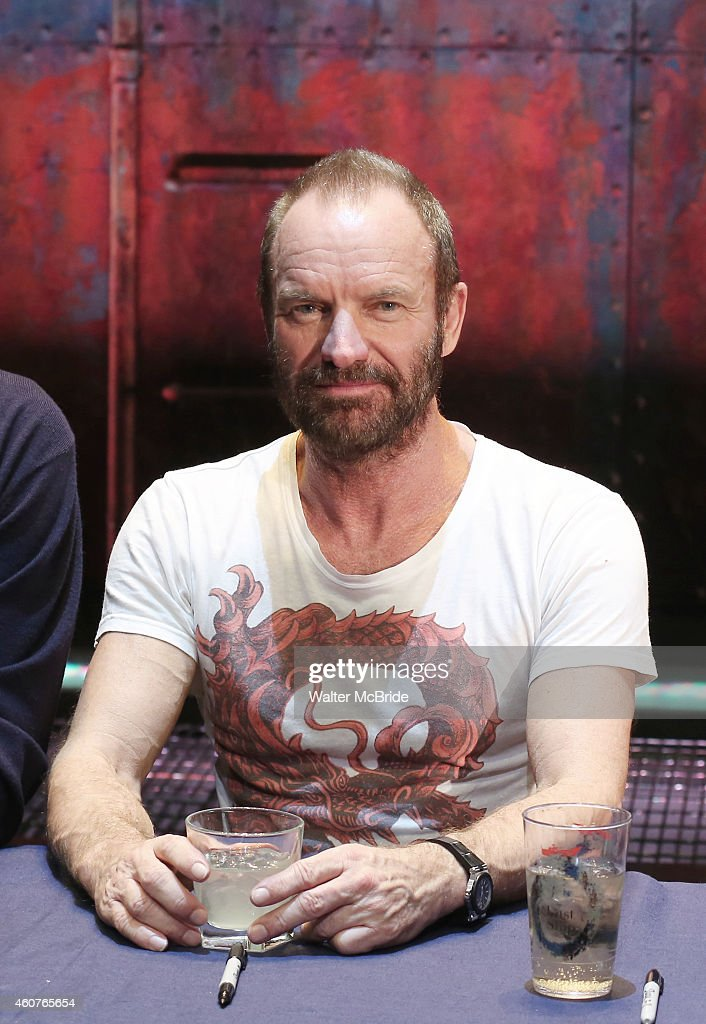Sting hosts an autograph signing for the Original Broadway Cast Recording of 'The Last Ship' on stage at The Neil Simon Theatre on December 21, 2014 in New York City.