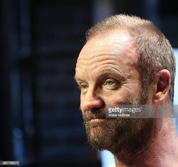 Sting hosts an autograph signing for the Original Broadway Cast Recording of 'The Last Ship' on stage at The Neil Simon Theatre on December 21 2014...
