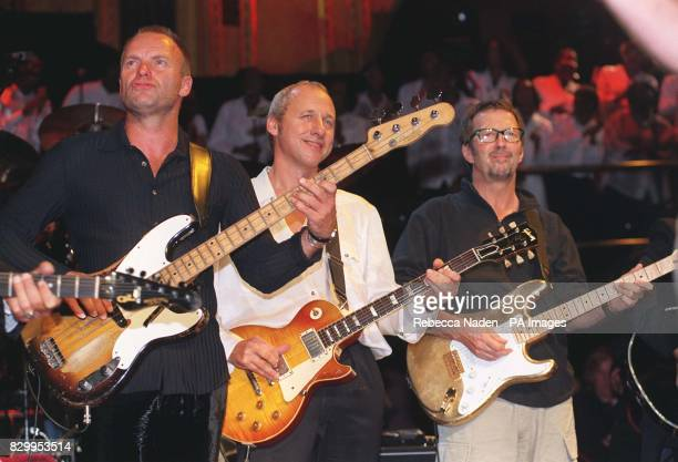 Sting Mark Knopfler and Eric Clapton perform during the Music for Montserrat benefit concert at the Royal Albert Hall * British music veterans Sting...