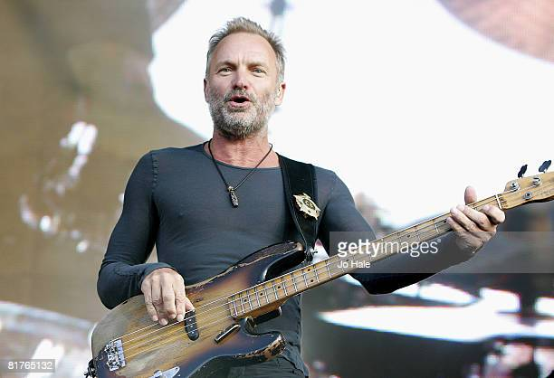 Sting of Police performs at The Hard Rock Calling Festival on June 29 2008 in London England