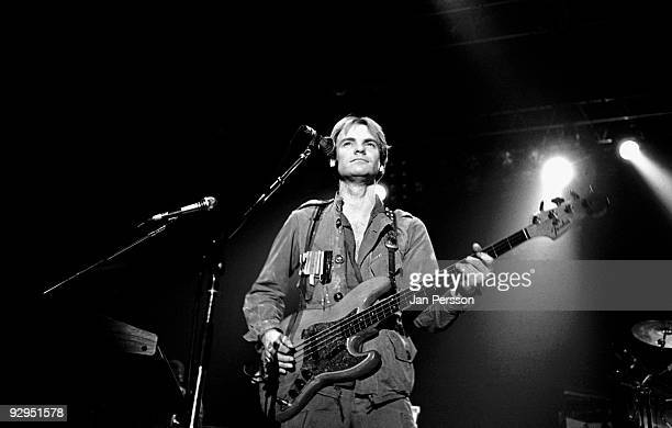 Sting of The Police performs on stage at the Brondbyhallen on January 5th 1982 in Copenhagen Denmark He plays a Fender Jazz Bass guitar