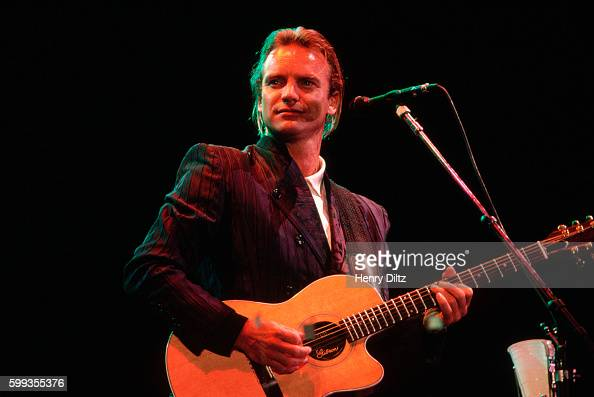 Sting on stage in the Los Angeles Coliseum during the LA stop of the 'Human Rights Now' world tour