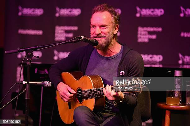 Sting performs at the ASCAP Music Cafe during the 2016 Sundance Film Festival at Sundance ASCAP Music Cafe on January 23 2016 in Park City Utah