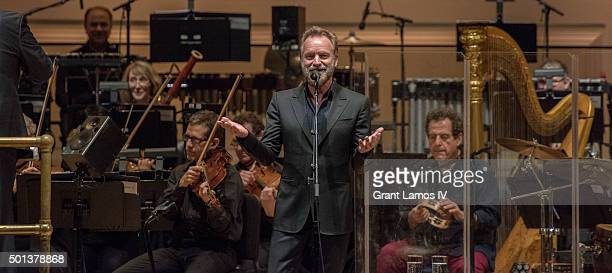 Sting performs during An Evening With Sting Symphonicities at Carnegie Hall on December 14 2015 in New York City