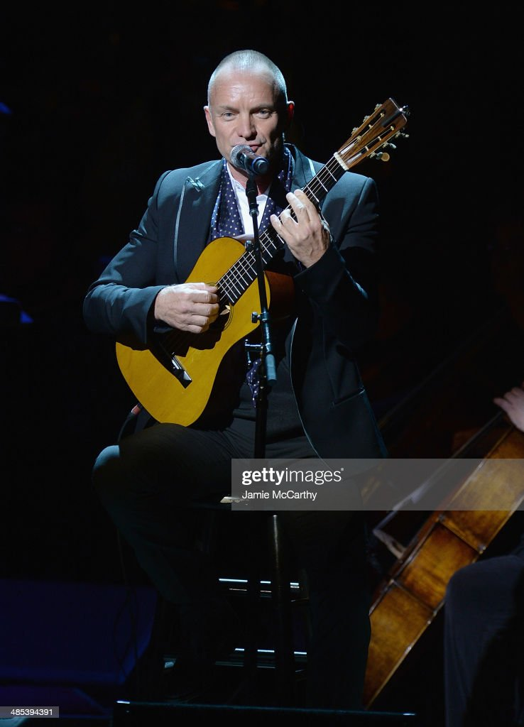 Sting performs during the 25th Anniversary Rainforest Fund Benefit Concert at Carnegie Hall on April 17, 2014 in New York City.