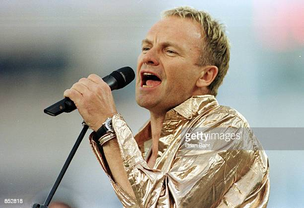 Sting performs during the pregame show January 28 2001 at Super Bowl XXXV between the Baltimore Ravens and the New York Giants at Raymond James...