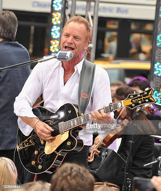Sting performs on CBS' 'The Early Show' at CBS Early Show Studio Plaza on July 15 2010 in New York City