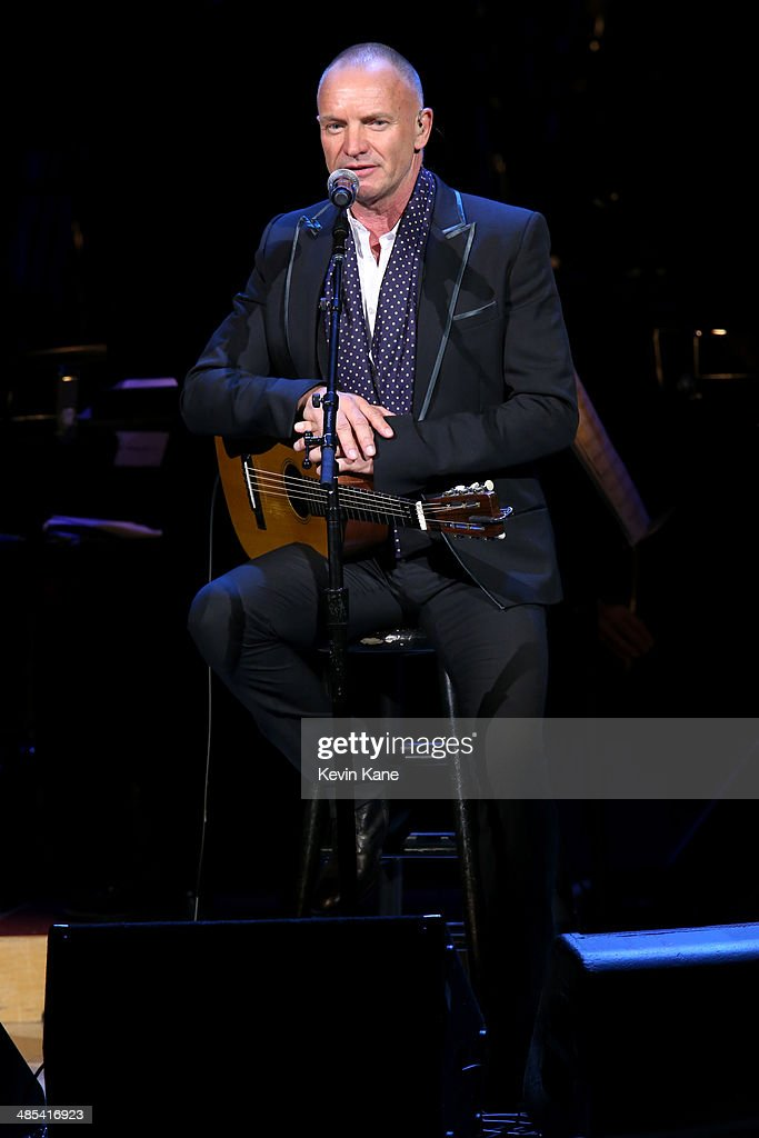 Sting performs on stage at The 2014 Revlon Concert For The Rainforest Fund at Carnegie Hall on April 17, 2014 in New York City.