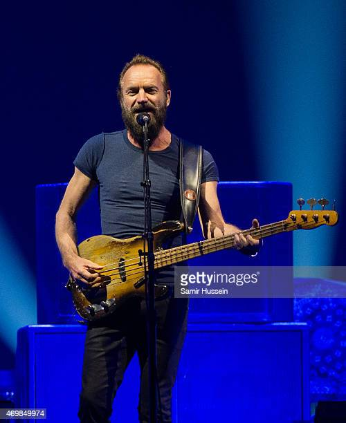 Sting performs on stage at The O2 Arena on April 15 2015 in London United Kingdom