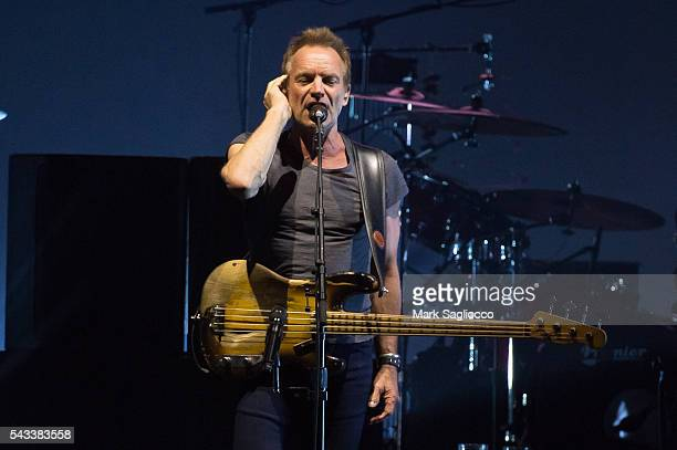 Sting performs on stage during the 'Rock Paper Scissors' North American Tour at Madison Square Garden on June 27 2016 in New York City