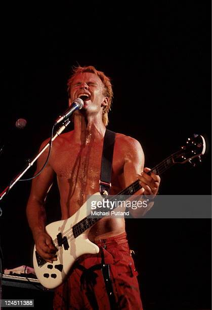 Sting performs on stage with The Police Shea Stadium New York 18th August 1983