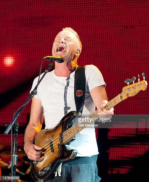 Sting performs onstage at Ibiza 123 Festival Rocktronic Sunset Strip on July 1 2012 in Ibiza Spain