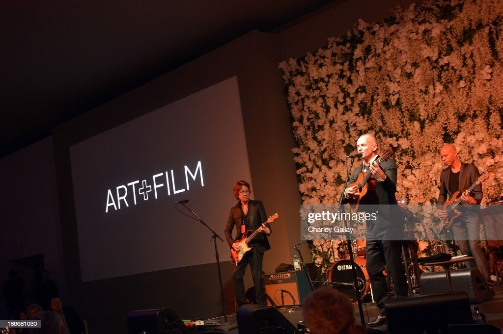 Sting performs onstage during the LACMA 2013 Art + Film Gala honoring Martin Scorsese and David Hockney presented by Gucci at LACMA on November 2, 2013 in Los Angeles, California.