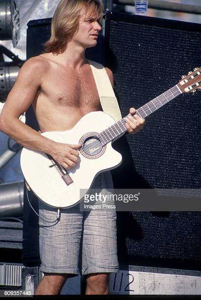 Sting playing a Gibson guitar during his 'Nothing Like The Sun' tour circa 1988 in Rio de Janeiro Brazil