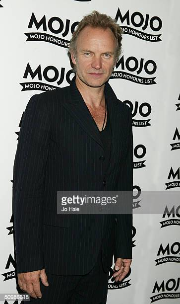 Sting poses in the pressroom without his award at the 'The Mojo Honours List Music Awards' at Banqueting House Whitehall on June 22 2004 in London...