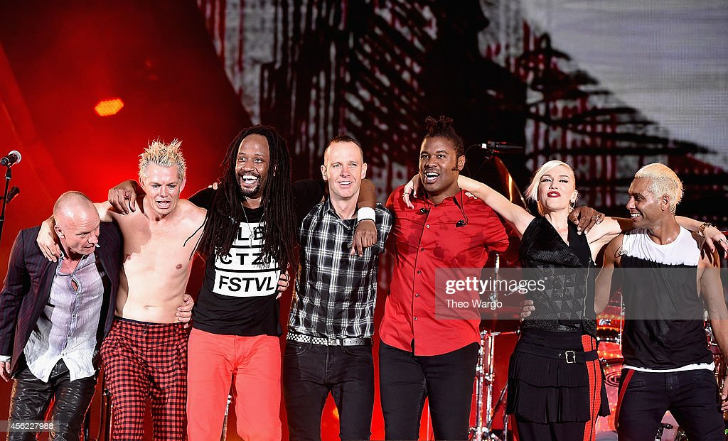 Sting poses onstage with Adrian Young Stephen Bradley Tom Dumont Gabrial McNair Gwen Stefani and Tony Kanal of No Doubt onstage at the 2014 Global...