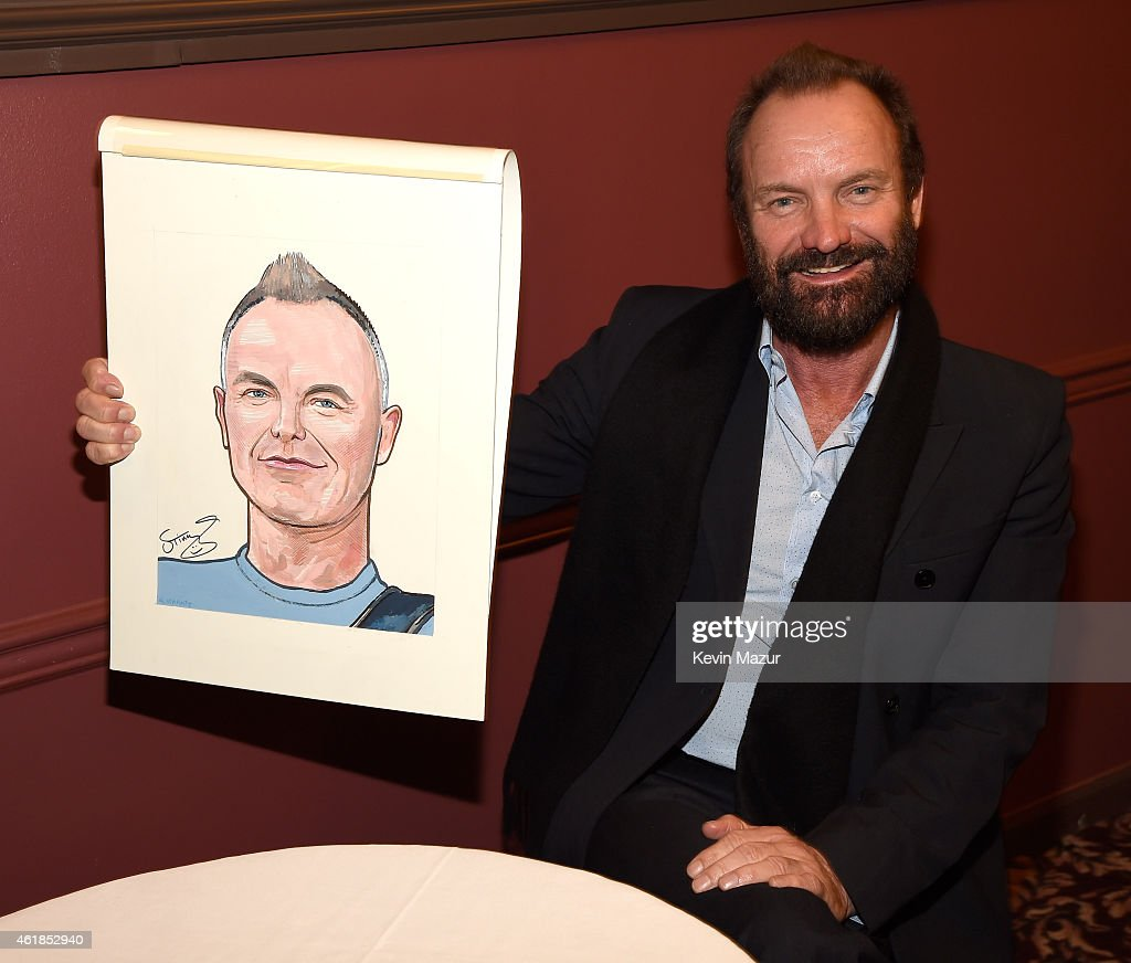 <a gi-track='captionPersonalityLinkClicked' href=/galleries/search?phrase=Sting&family=editorial&specificpeople=220192 ng-click='$event.stopPropagation()'>Sting</a> receives caricature at Sardi's on January 20, 2015 in New York City.