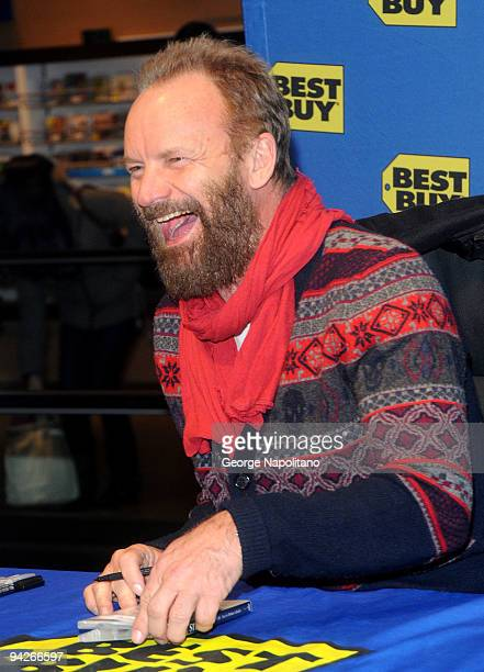 Sting signs his new CD 'If Winter's Night' at Best Buy on December 10 2009 in New York City
