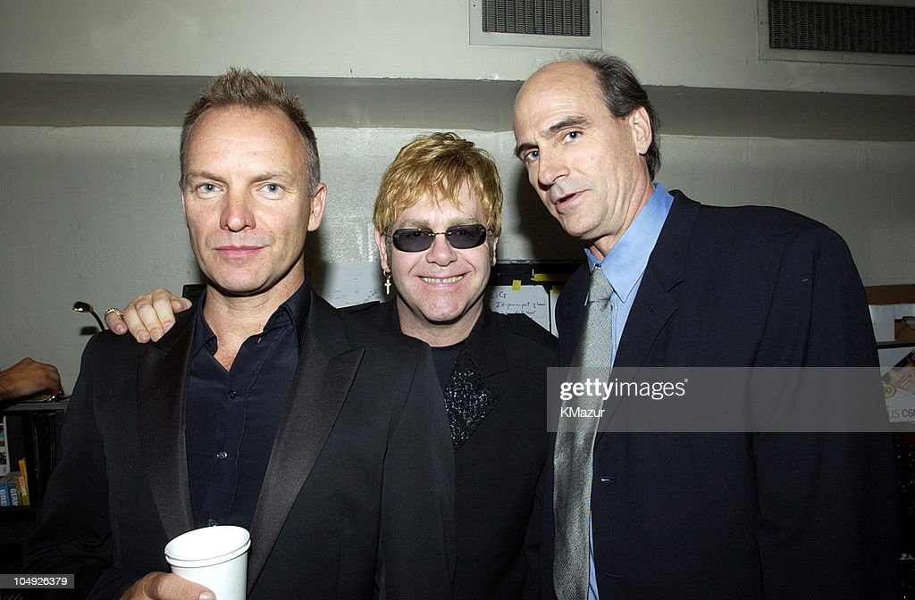 Sting, Sir Elton John and James Taylor during The 12th Annual Rainforest Foundation Concert - Backstage at Carnegie Hall in New York City, New York, United States.