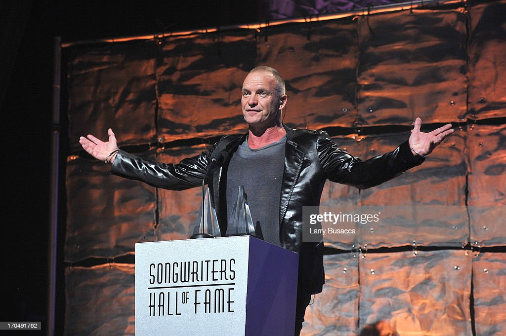 Sting speaks onstage at the Songwriters Hall of Fame 44th Annual Induction and Awards Dinner at the New York Marriott Marquis on June 13, 2013 in New York City.