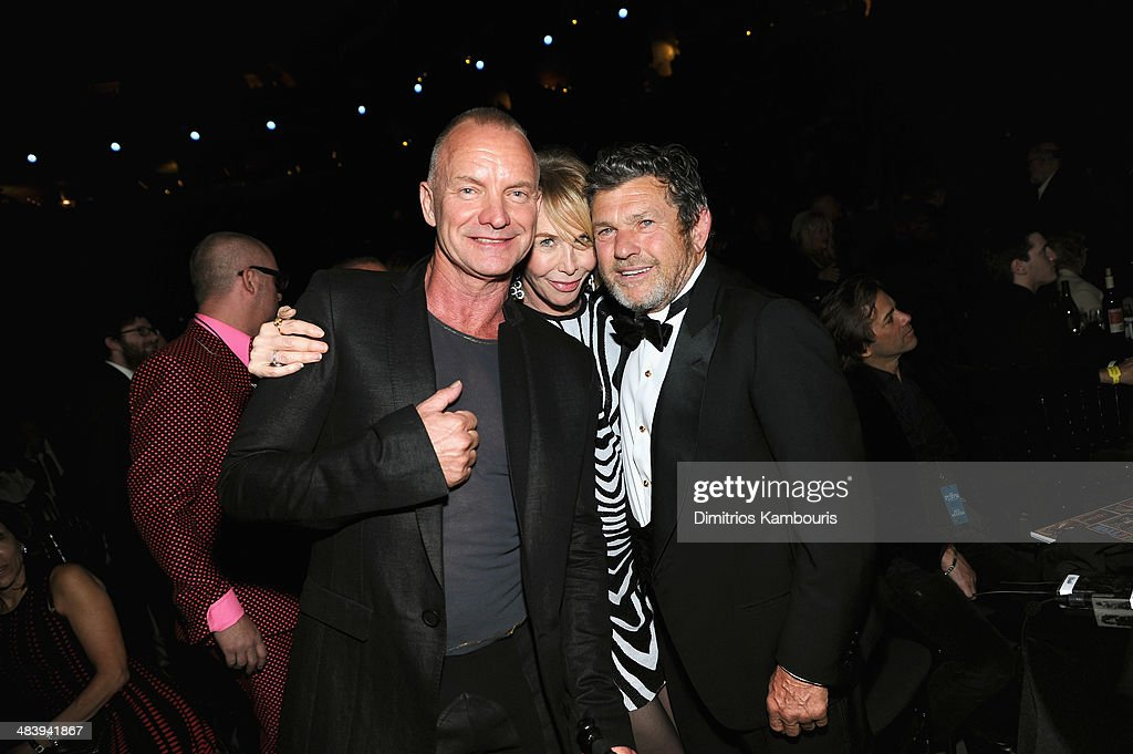 Sting, <a gi-track='captionPersonalityLinkClicked' href=/galleries/search?phrase=Trudie+Styler&family=editorial&specificpeople=203268 ng-click='$event.stopPropagation()'>Trudie Styler</a> and <a gi-track='captionPersonalityLinkClicked' href=/galleries/search?phrase=Jann+Wenner&family=editorial&specificpeople=208924 ng-click='$event.stopPropagation()'>Jann Wenner</a> attend the 29th Annual Rock And Roll Hall Of Fame Induction Ceremony at Barclays Center of Brooklyn on April 10, 2014 in New York City.