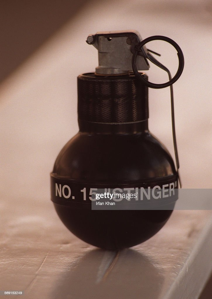 Stingball grenade which contains small rubber balls is used by at Peter Pitchess Honor detention official to control rioting prisoners Photo IRFAN...