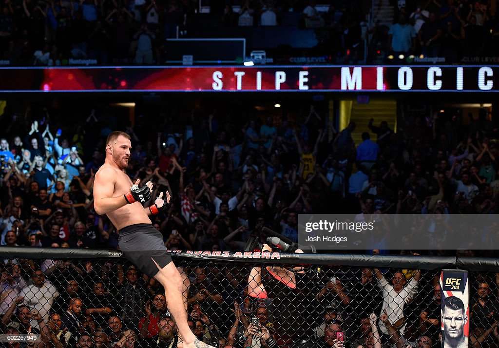 Stipe Miocic celebrates after defeating Alistair Overeem of The Netherlands in their UFC heavyweight championship bout during the UFC 203 event at Quicken Loans Arena on September 10, 2016 in Cleveland, Ohio.