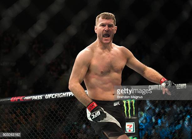 Stipe Miocic celebrates his knockout victory over Andrei Arlovski in their heavyweight fight during the UFC 195 event inside MGM Grand Garden Arena...