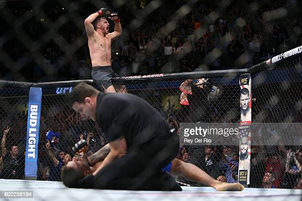 Stipe Miocic celebrates his victory over Alistair Overeem during the UFC 203 event at Quicken Loans Arena on September 10 2016 in Cleveland Ohio