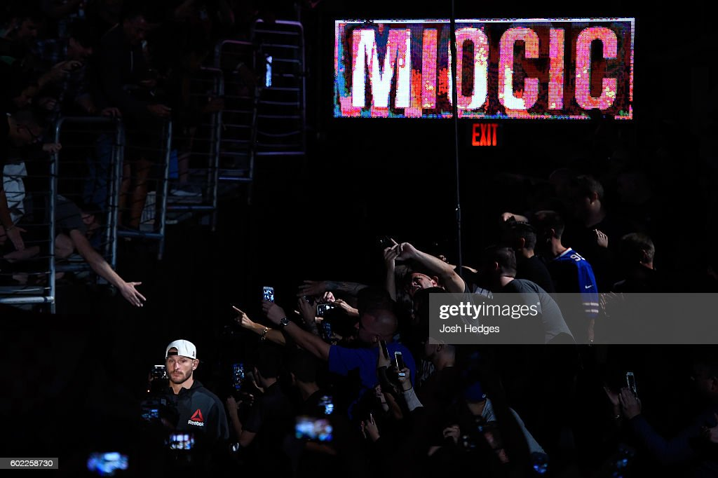 Stipe Miocic enters the arena prior to facing Alistair Overeem of The Netherlands in their UFC heavyweight championship bout during the UFC 203 event at Quicken Loans Arena on September 10, 2016 in Cleveland, Ohio.