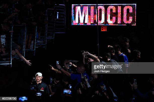 Stipe Miocic enters the arena prior to facing Alistair Overeem of The Netherlands in their UFC heavyweight championship bout during the UFC 203 event...
